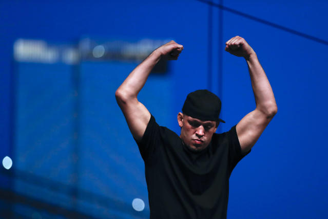 Nate Diaz during a press conference ahead of UFC 244 at The Rooftop at Pier 17 on Sept. 19, 2019 in New York City. (Michael Owens/Zuffa LLC)