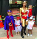 <p>Kourtney and the Kardashian children took on the role of superheroes in 2015 while North opted to play a unicorn. <em>[Photo: Instagram]</em> </p>