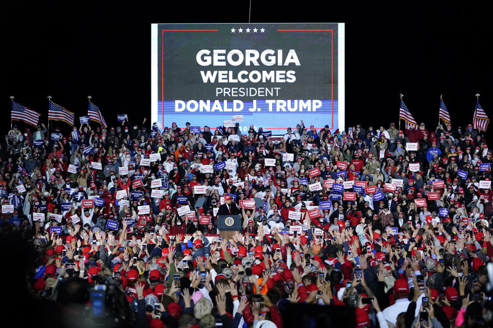 President Donald Trump speaks at a campaign rally on Sunday, Nov. 1, 2020, at Richard B. Russell Airport in Rome, Ga. (AP Photo/Brynn Anderson)