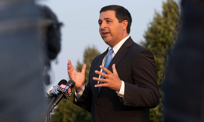 Wisconsin Attorney General Josh Kaul speaks at a news conference Aug. 26 at the Kenosha County Detention Facility.