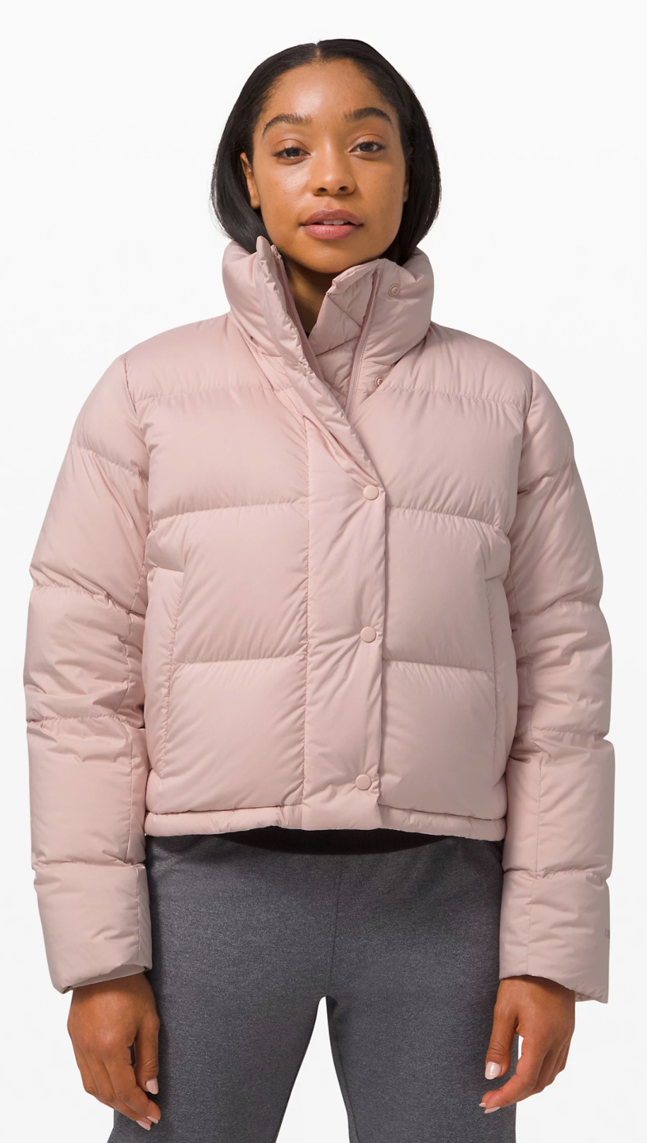 Wunder Puff Cropped Jacket in Pink Fawn (Photo via Lululemon Athletica)