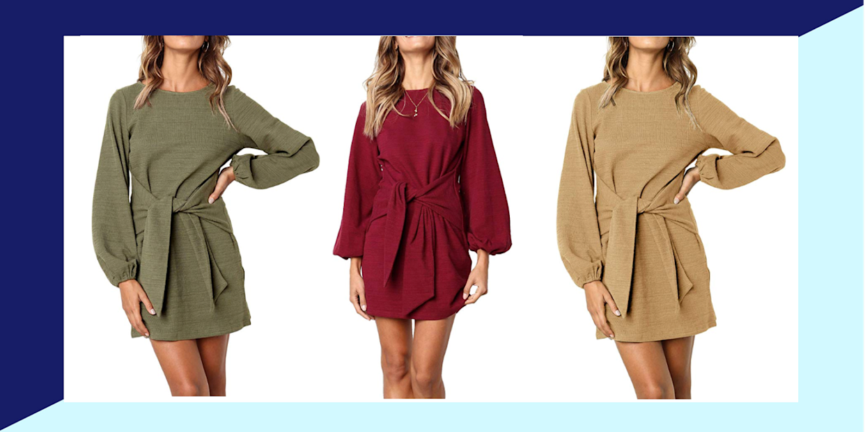 This sweater dress is perfect for the awkward summer-to-fall wardrobe season. (Photo: Amazon)