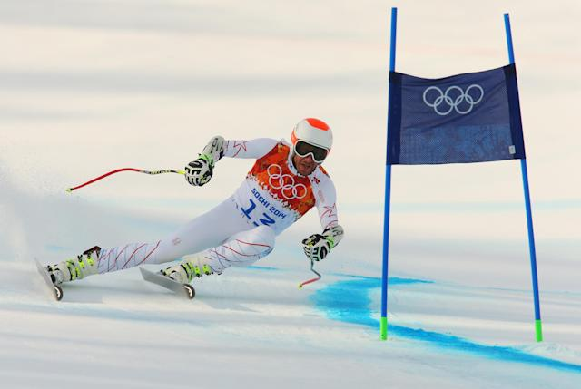 SOCHI, RUSSIA - FEBRUARY 16: Bode Miller of the United States skis during the Alpine Skiing Men's Super-G on day 9 of the Sochi 2014 Winter Olympics at Rosa Khutor Alpine Center on February 16, 2014 in Sochi, Russia. (Photo by Alexander Hassenstein/Getty Images)