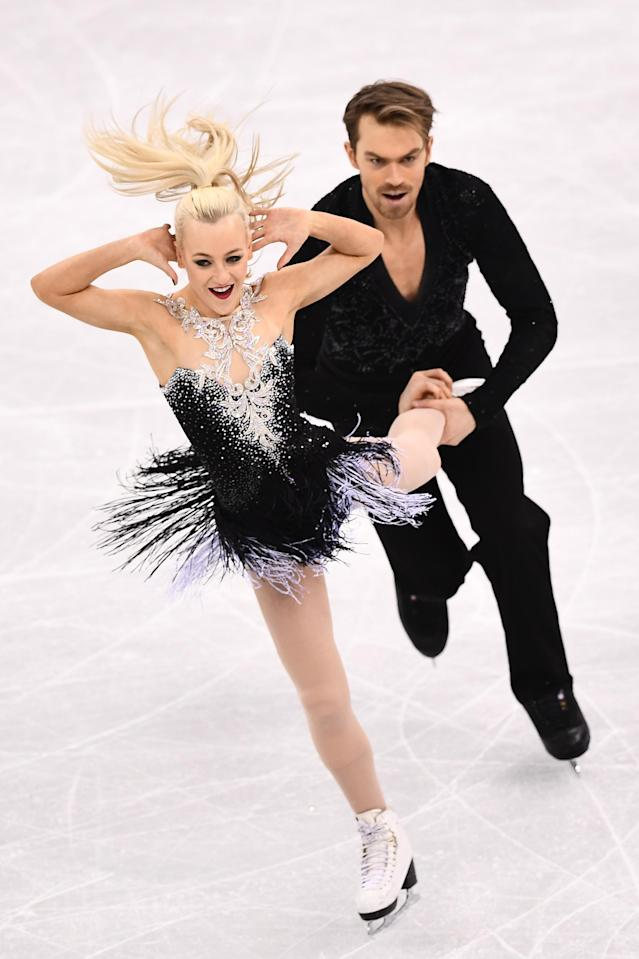 <p>Britain's Penny Coomes and Britain's Nicholas Buckland compete in the ice dance short dance of the figure skating event during the Pyeongchang 2018 Winter Olympic Games at the Gangneung Ice Arena in Gangneung on February 19, 2018. / AFP PHOTO / ARIS MESSINIS </p>