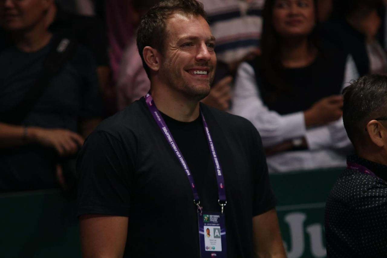 <p>Former NBA player David Lee smiles after girlfriend Caroline Wozniacki wins the WTA Finals in Singapore. Photo: Yahoo News Singapore </p>
