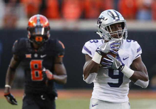 "Three of <a class=""link rapid-noclick-resp"" href=""/ncaaf/players/264518/"" data-ylk=""slk:Byron Pringle"">Byron Pringle</a>'s six touchdowns came against Oklahoma State. (AP Photo/Sue Ogrocki)"
