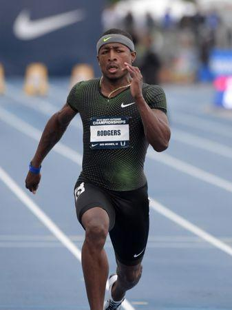 Jun 21, 2018; Des Moines, IA, USA; Mike Rodgers aka Michael Rodgers wins 100m heat in 9.89 for the top time during the USA Championships at Drake Stadium. Kirby Lee-USA TODAY Sports