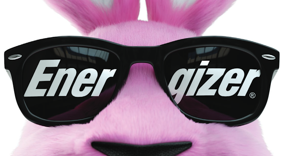 Pink stuffed bunny with black sunglasses labeled Energizer.