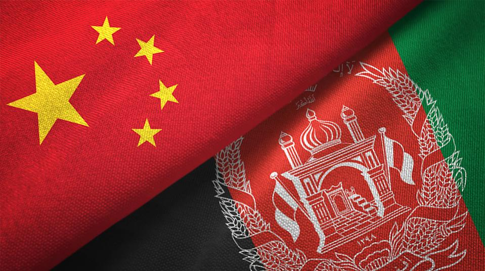 Afghanistan and China flag together realtions textile cloth fabric texture