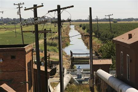 Water is transferred from the Sacramento River through an irrigation station near Isleton, California