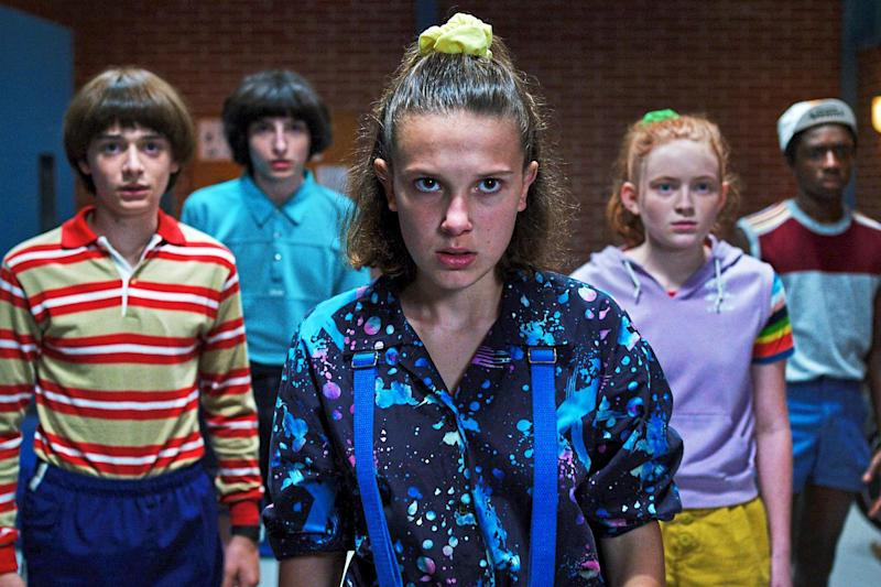 Spooks: the cast of Stranger Things series three including Millie Bobby Brown (centre): Netflix