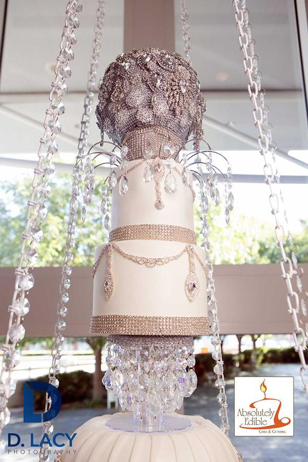 mom baked her daughter a chandelier wedding cake that hangs