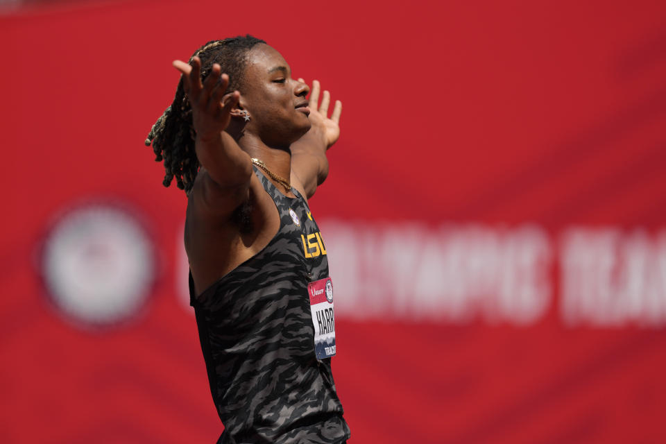 JuVaughn Harrison celebrates during the finals of the men's high jump at the U.S. Olympic Track and Field Trials Sunday, June 27, 2021, in Eugene, Ore. (AP Photo/Charlie Riedel)