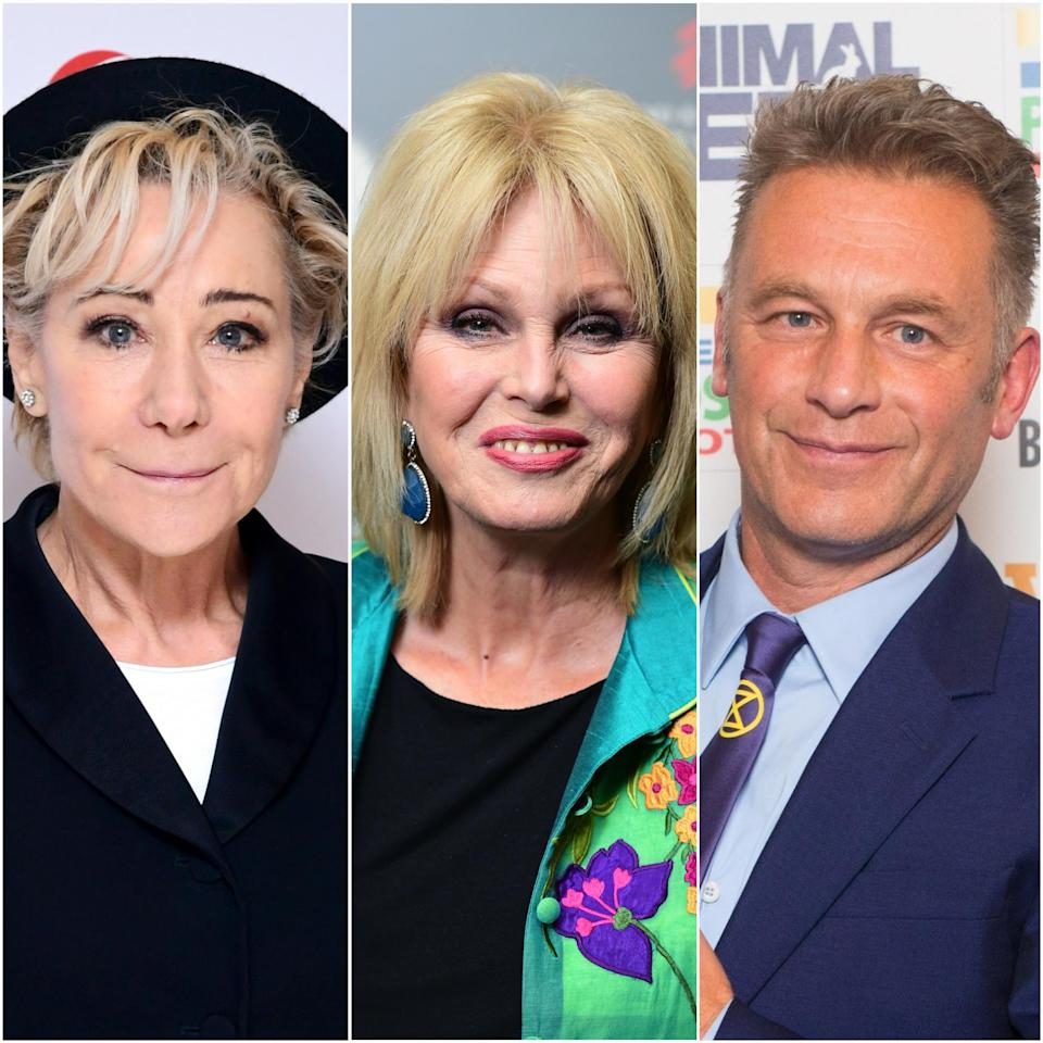 Zoe Wanamaker, Joanna Lumley and Chris Packham (Ian West/David Parry/PA)