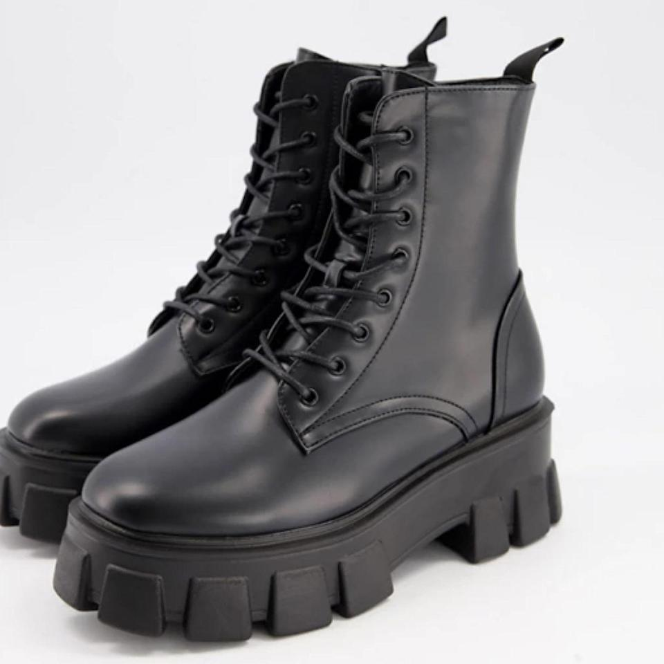 """Don't let the budget-friendly price point fool you—reviewers can't stop raving about how comfortable yet sturdy these faux leather boots are, along with a welcome height boost. $70, Asos. <a href=""""https://www.asos.com/us/truffle-collection/truffle-collection-chunky-lace-up-boots-in-black-with-exaggerated-sole/prd/21039998"""" rel=""""nofollow noopener"""" target=""""_blank"""" data-ylk=""""slk:Get it now!"""" class=""""link rapid-noclick-resp"""">Get it now!</a>"""