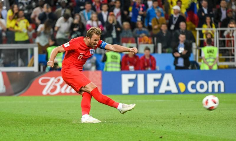 Harry Kane scores for England.
