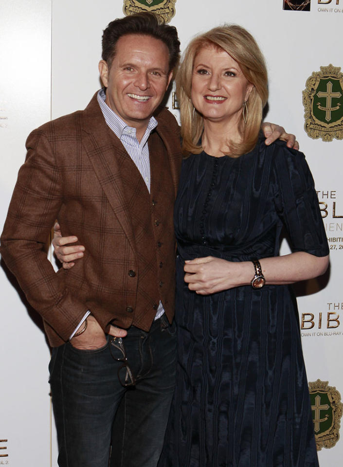 "Producer Mark Burnett and Arianna Huffington arrive at ""The Bible Experience"" opening night gala, a rare exhibit of biblical artifacts, in New York City on Tuesday, March 19 in New York."