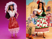 """<div class=""""caption-credit"""">Photo by: Mattel.com</div><b><div class=""""caption-title"""">Mexico Barbie, 1989 and 1996</div></b>The first edition Mexico Barbie (left), released in 1989, is far more authentic looking, with a colorfully embroidered blouse, a woven ribbon belt, and a lace mantilla -- a nod to the country's Spanish-influenced culture. The second-edition version, which came out in 1996, had ribbons woven into the dolls braids and a clothes in the colors of the Mexican flag. So why did the company make the 2012 so different? Mattel says that their goal is to introduce girls to the world through play. """"We consulted with the Mexican Embassy on the Dolls of the World Mexico Barbie, especially with respect to the selection of the Chihuahua,"""" a Mattel spokesperson told Yahoo! Shine."""
