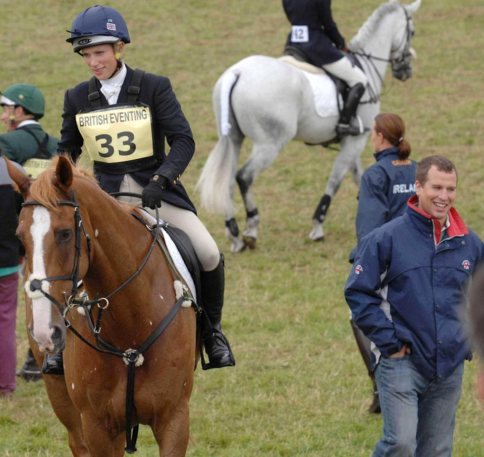 Zara Phillips on Toytown, with her brother Peter Phillips before competing in the show jumping at the Festival of British Eventing at Gatcombe Park, Gloucestershire.   (Photo by Barry Batchelor - PA Images/PA Images via Getty Images)