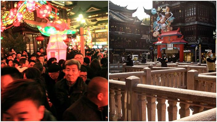 Chinese New Year Celebrations in Shanghai before the Wuhan coronavirus outbreak in 2014, left, and this year, right.