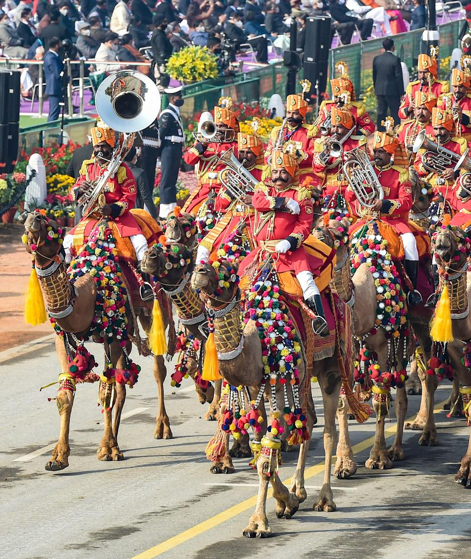New Delhi: Border Security Force (BSF)s camel mounted contingent participates in a parade at Rajpath, during the 72nd Republic Day celebrations, in New Delhi, Tuesday, Jan. 26, 2021.