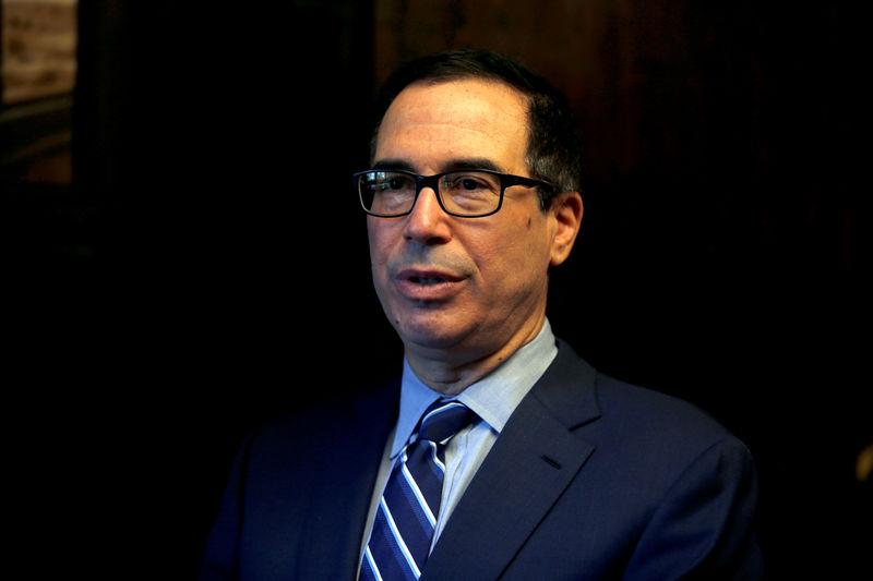 FILE PHOTO: U.S. Treasury Secretary Mnuchin speaks during his interview with Reuters in Jerusalem
