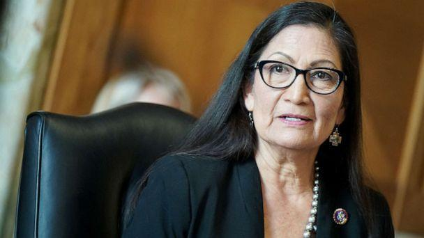 PHOTO: Secretary of the interior nominee Rep. Deb Haaland testifies during a Senate Energy and Natural Resources Committee confirmation hearing in Washington, DC on Feb 24, 2021.  (Leigh Vogel/AFP via Getty Images)