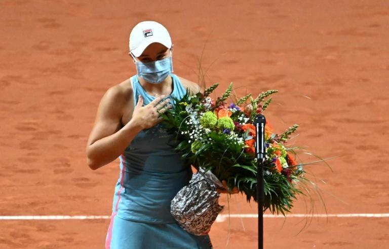 Ashleigh Barty was presented with a bouquet of flowers to mark her birthday after her semi-final win in Stuttgart
