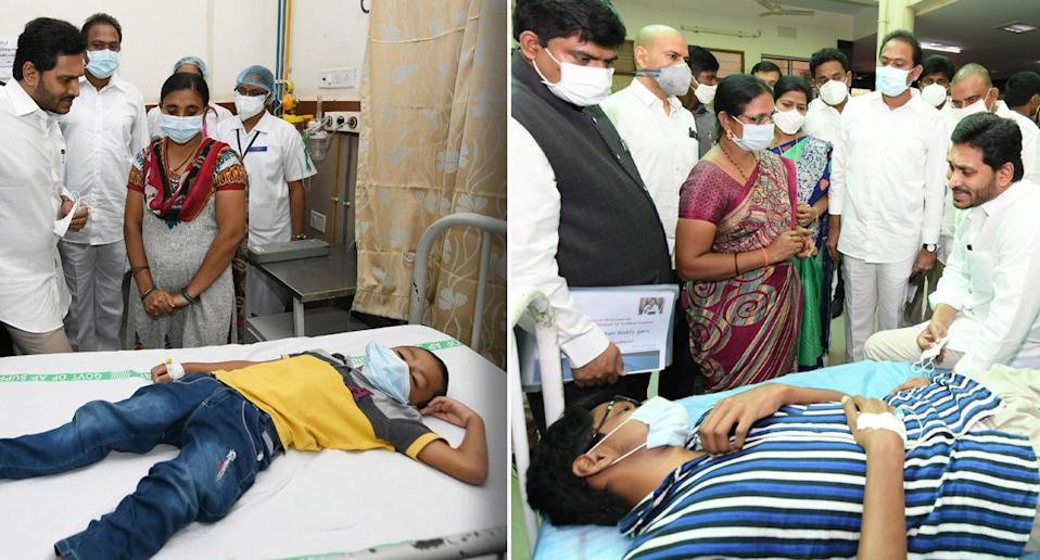Andhra Pradesh Chief Minister Y.S. Jagan Mohan Reddy meeting with the patients going under treatment for an unknown disease that left over 200 people hospitalised in Eluru town, Andhra Pradesh.