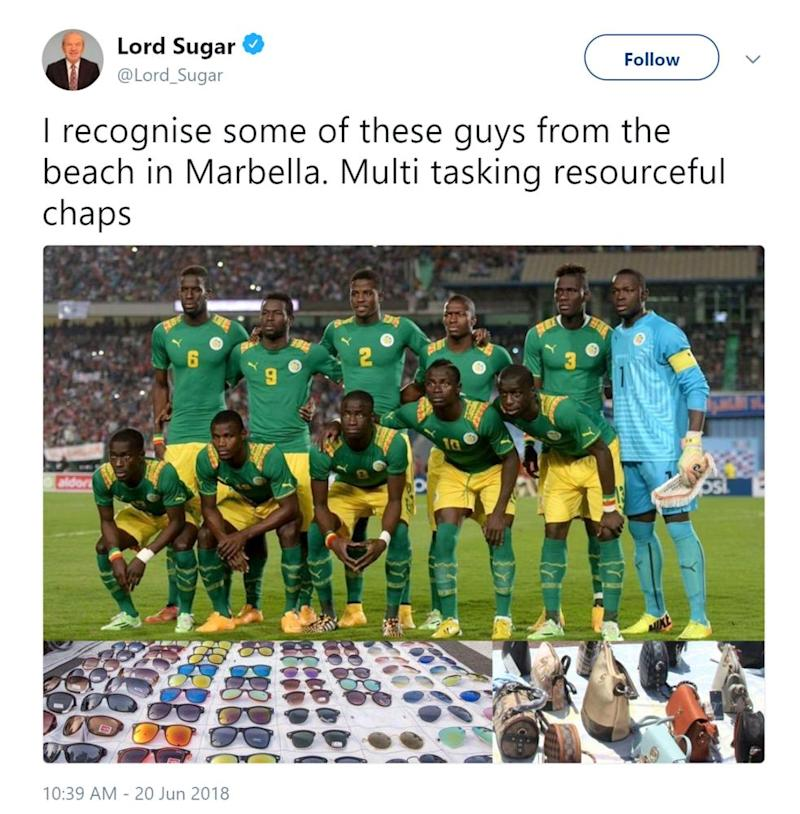 Lord Sugar's tweet about the Senegal World Cup squad, which has since been deleted.