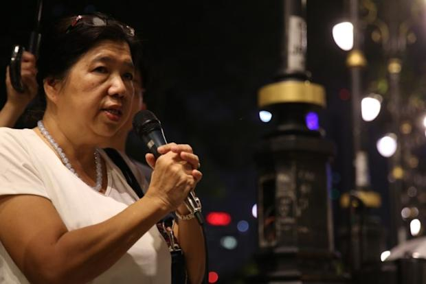 Susanna Liew Sow Yoke, wife of abducted Pastor Raymond Koh at the solidarity vigil by civil societies over four abduction victims over the last four months in Dataran Merdeka, Kuala Lumpur, April 8, 2017. ― Picture by Saw Siow Feng