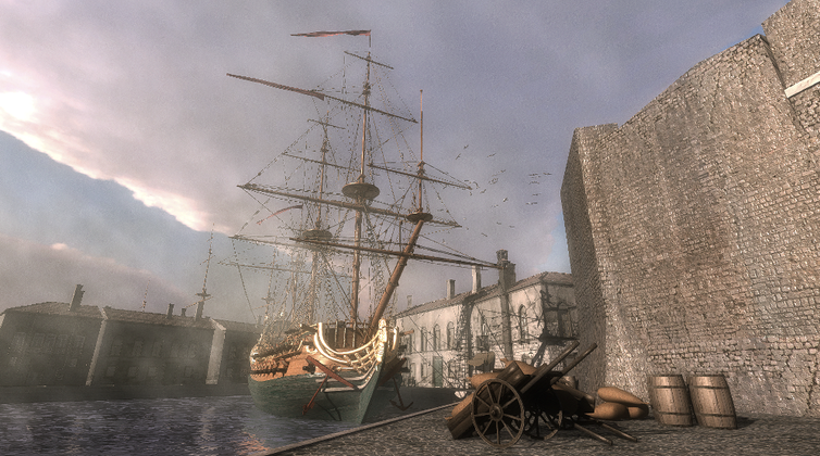 VR depiction of 17th century sailing ship The Anne.