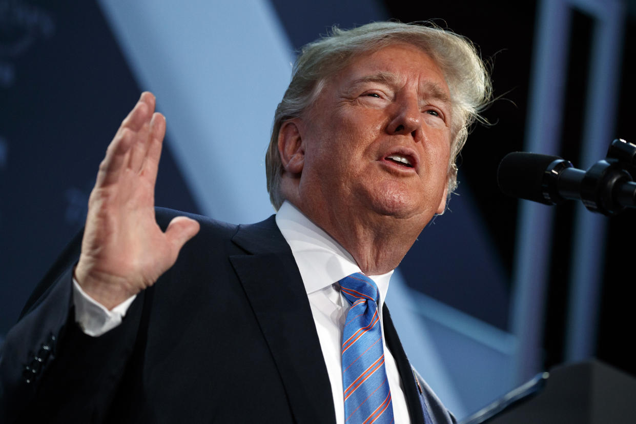 President Trump speaks at the National Federation of Independent Businesses 75th anniversary celebration in Washington, D.C., on Tuesday. (AP Photo/Evan Vucci)