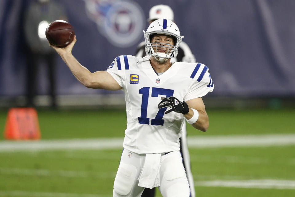 Indianapolis Colts quarterback Philip Rivers passes against the Tennessee Titans in the first half of an NFL football game Thursday, Nov. 12, 2020, in Nashville, Tenn. (AP Photo/Wade Payne)