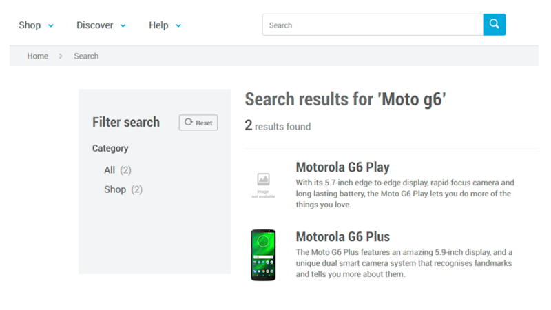 The page showing up on Carphone Warehouse's website when searching for Moto G6. Image: Carphone Warehouse