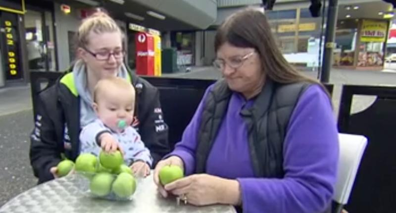 Denise O'Halloran (right) bought a tampered apple