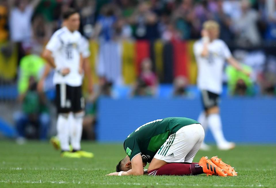 """Javier """"Chicharito"""" Hernandez celebrates Mexico's 1-0 victory over Germany at the 2018 World Cup. (Getty)"""