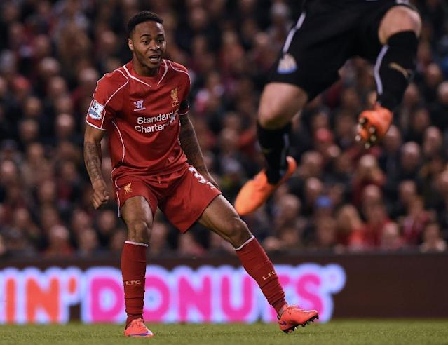 Liverpool's Raheem Sterling reacts after missing a chance during the Premier League match against Newcastle at Anfield on April 13, 2015 (AFP Photo/Paul Ellis)