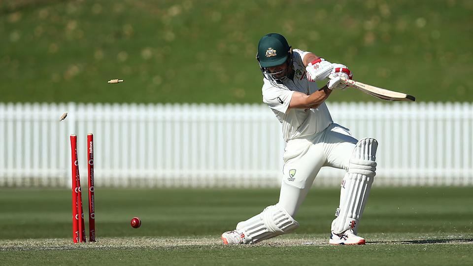 Joe Burns is seen here being bowled in Australia A's tour match against India.