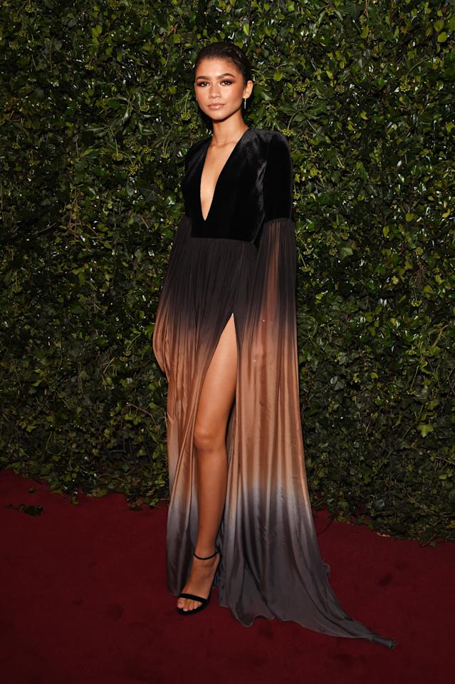 <p>Zendaya was a red carpet queen in an ombre Elie Saab gown. <i>[Photo: Getty]</i> </p>