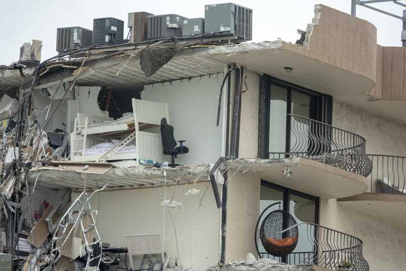 A view of the partial collapsed 12-storey condominium building in Surfside, Florida.
