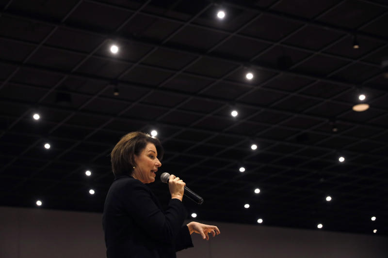 Democratic presidential candidate Sen. Amy Klobuchar, D-Minn., speaks during the Iowa Farmers Union Presidential Forum, Friday, Dec. 6, 2019, in Grinnell, Iowa. (AP Photo/Charlie Neibergall)