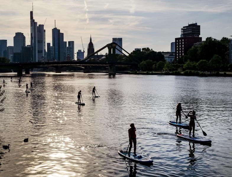Stand up paddle boarders explore the river Main in Frankfurt, Germany, on a warm and sunny Monday evening, June 24, 2019. (AP Photo/Michael Probst)