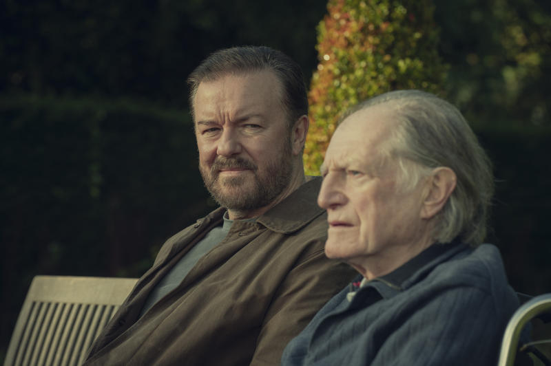 Ricky Gervais and David Bradley in After Life. (Netflix)