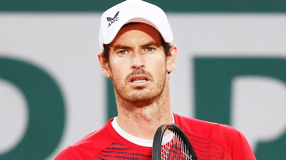Andy Murray (pictured) getting ready for the next point.