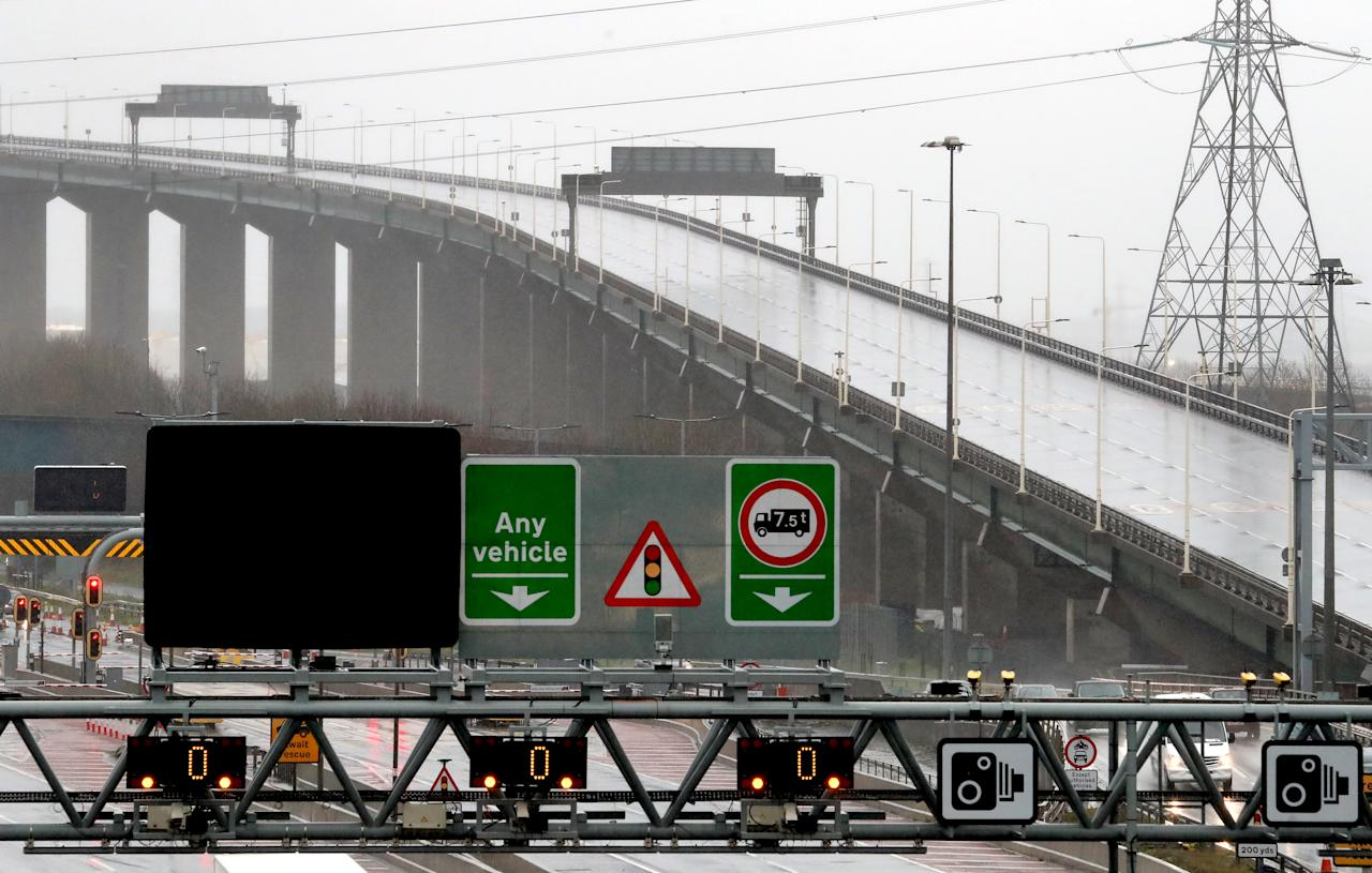 A view of Dartford Bridge in Kent which remains closed due to Storm Dennis. (PA)