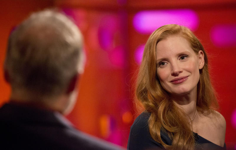 "Chastain  on ""The Graham Norton Show."" (Isabel Infantes - PA Images via Getty Images)"