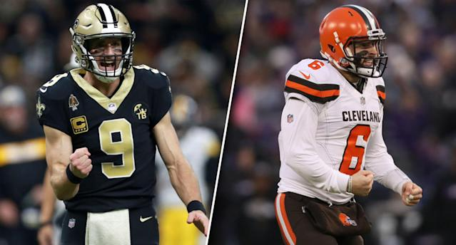 Baker Mayfield received some comparisons to Drew Brees through his draft process. Will he surpass his veteran counterpart in 2019 fantasy? (Photos by Sean Gardner/Rob Carr/Getty Images)