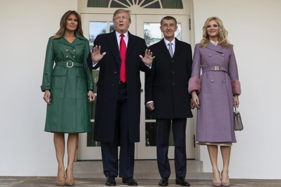 Melania Trump wore an Alexa Chung coat to welcome the President of the Czech Republic. [Photo: PA]