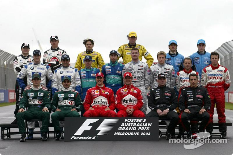 "Foto de grupo de los pilotos de F1 de 2003<span class=""copyright"">Ferrari Media Center</span>"